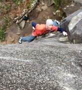 """Rock Climbing Photo: After the cruxes on """"stern farmer""""."""