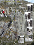 Rock Climbing Photo: Beta photo from first ascent of By Tooth and Claw.