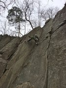Rock Climbing Photo: Chris leading through a tricky corner on the Chris...