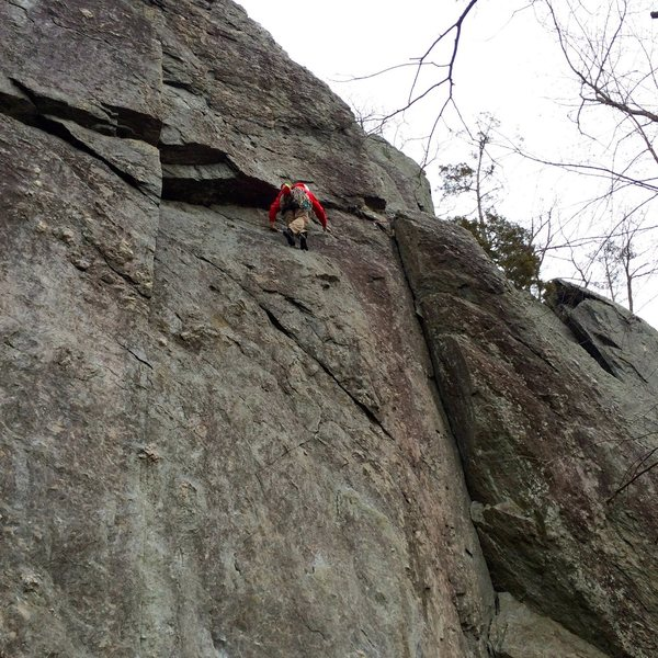 Robin seconding through the P1 of the Chris Wex Don Traverse