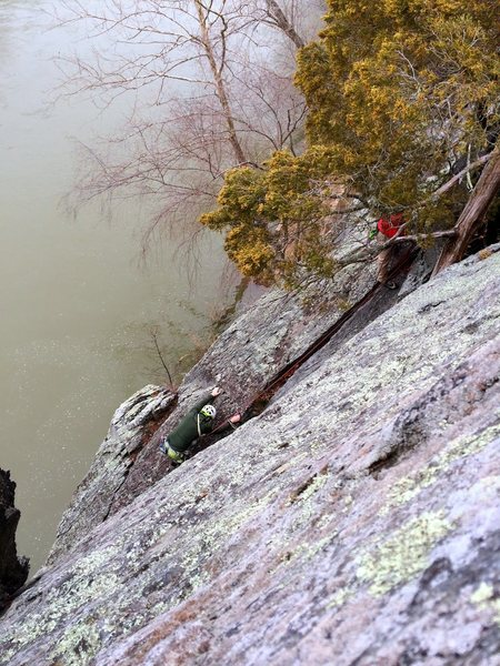 Rock Climbing Photo: Looking down at the P2 belay. Chris downclimbing (...