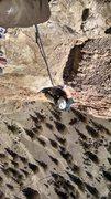 Rock Climbing Photo: Near the top of 35 meters of crack climbing goodne...