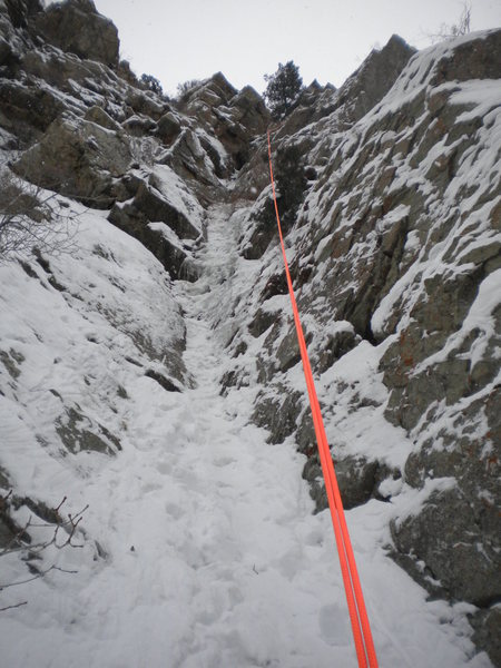 Rapping down 'The Scottish Gully' (2/4/16) Its much steeper than this photo suggests