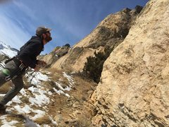 Rock Climbing Photo: Scoping out the sick futuristic line of Pet Arete ...