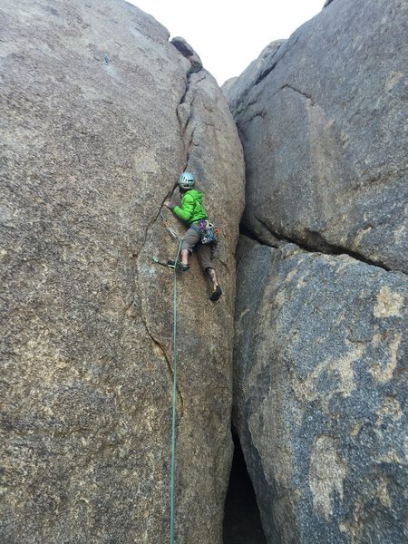 Rock Climbing Photo: Getting into easier terrain.  First Ascent.