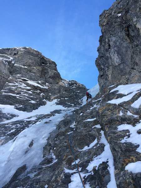 Climbing the WI2 pitch.