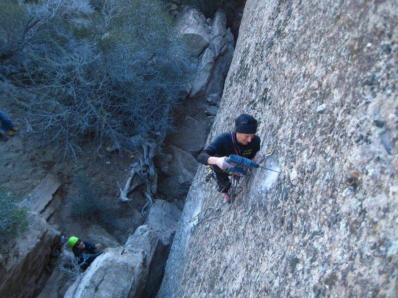 Rock Climbing Photo: Jeff Constine re-bolting No Philosophy. Start on t...