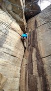 Rock Climbing Photo: Gene working the tight hands section on Men Withou...