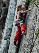 Rock Climbing Photo: Micaela on the early moves of the climb. Red pants...