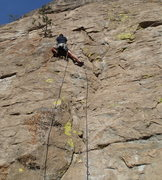 Rock Climbing Photo: Climber on the lower section of Little Pine