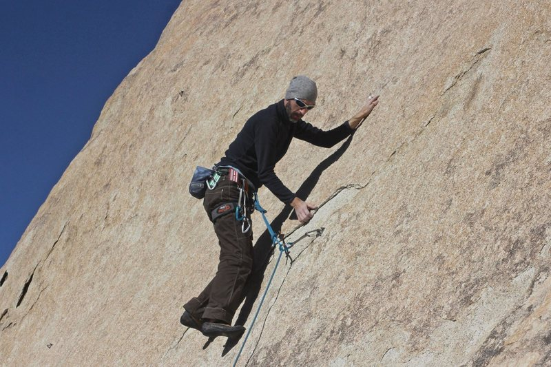 Rock Climbing Photo: Working above the first clip.  This is the crux of...