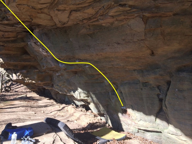 Rock Climbing Photo: The line starts at the crashpads then moves left t...