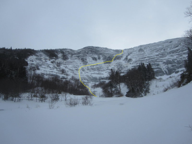 """Conditions Jan 30, 2016. Thin and sporadic ice, but this route meanders all the way up on good snow and thin ice. Everything on this line is easier than Cascade falls/slide, but there is very little protection available (ice is only 1-2""""). Makes for a great day out. 2 hours approach on  trail, another hour up the drainage to the climb, 1 hour for the climb, 3 hours back to the car from Gothics summit. Presently, snowshoes are not helpful or needed."""