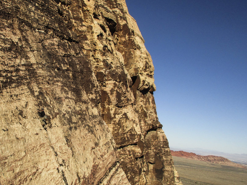 Rock Climbing Photo: Unknown climber on Birdland, pitch 4. Feb 7, 2016.