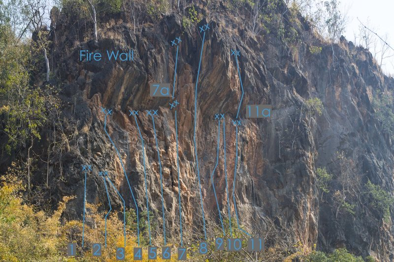 Hot Season is the furthest route to the right on Fire Wall, number 11 on the Fire Wall topo photo.