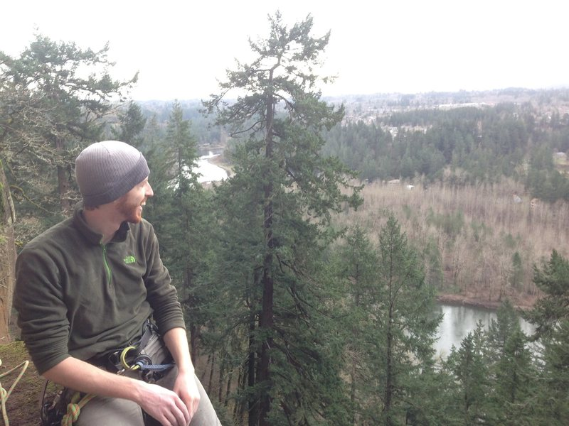Colin enjoying the view from ledge.