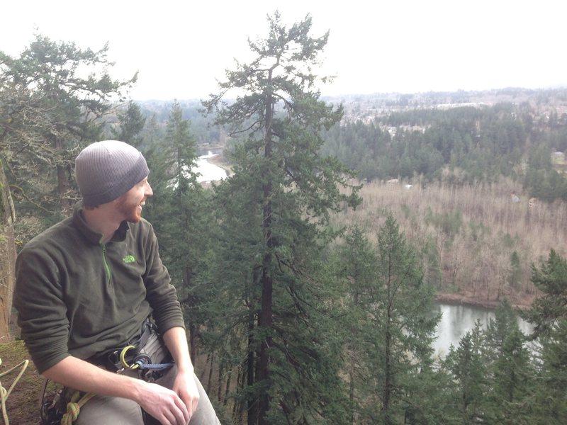 Rock Climbing Photo: Colin enjoying the view from ledge.