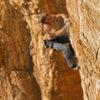 Mike at the final hard moves<br> Jornada del Muerto (5.12d)