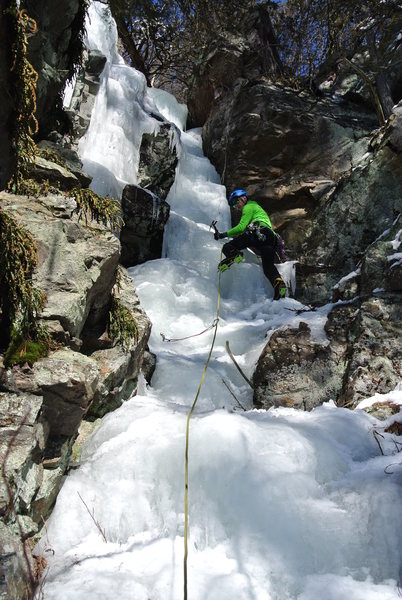 "James heading up ""Mandalay Way"" on lead.  Winter fun in an iced up gully at DLSTP."