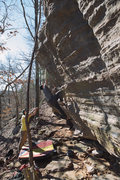 "Rock Climbing Photo: FA - ""The Gold Lining"" **** - v7 - Amazi..."