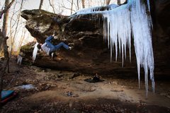 "Rock Climbing Photo: FA ""The Nemesis"" *** v9 @ Peters Branch"