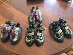 La Sportiva Testarossa and Muira Vs shoes