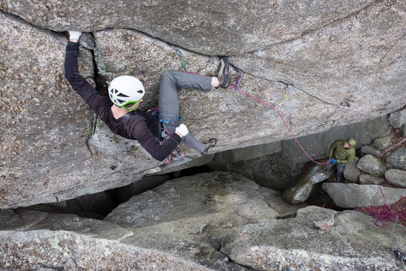 Spencer working the first ascent of The Donald 5.11D at Old Rag.
