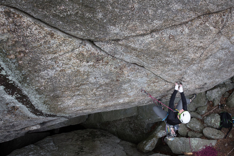 Spencer working The Donald 5.11D at Old Rag