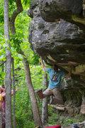 "Rock Climbing Photo: My FA ""Swinging Machete"" **** v5 @ Peter..."