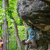 """My FA """"Swinging Machete"""" **** v5 @ Peters Branch. Its the problem to the left of Jabba the Hut."""