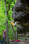 "Rock Climbing Photo: Justin Frese on my FA ""Jabba the Hut"" v4..."