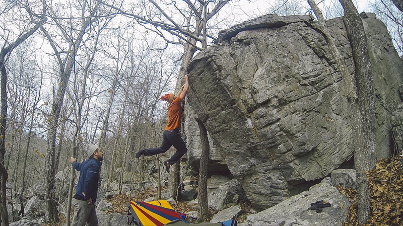 "FA ""Success"" ***** v9 @ Boiling Springs, MO. This is the best crag in Missouri hands down."