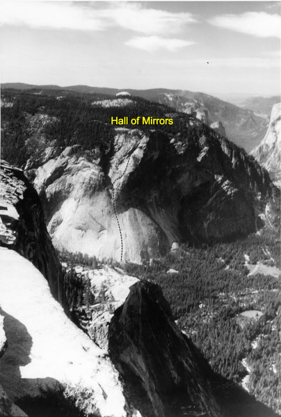 "Line of the ""Hall of Mirrors"" (5.12c R) viewed from Half Dome"
