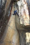 Rock Climbing Photo: A wider shot of the Me at the top of the climb on ...
