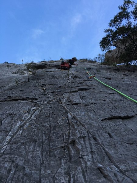 Rock Climbing Photo: View of the third pitch from the 2nd belay stance.