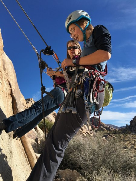 Sierra Zacks demonstrating a stranded climber rescue