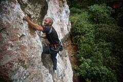 """Rock Climbing Photo: Johnny Willis on the first ascent of """"Screw y..."""