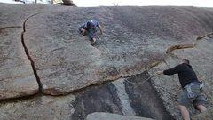 Rock Climbing Photo: Pro sweat on lead