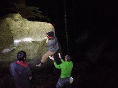 Rock Climbing Photo: 18650 headlamp illuminating pebbalz   No flash use...