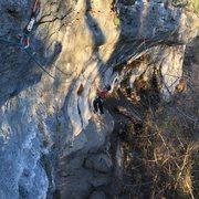 Rock Climbing Photo: B on the yummy tufa traverse! Nomnomnom