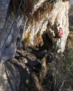 Rock Climbing Photo: Climbing pitch two, looking back at the belay. MIN...