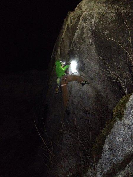 Rock Climbing Photo: A bit of steepah trad at night