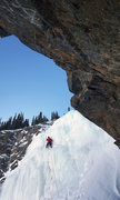 Rock Climbing Photo: Kelvin on the last pitch, early Feb. condition 201...