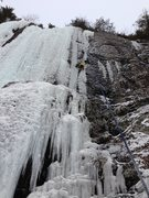 Rock Climbing Photo: Thin, wet and dripping - but climbable on ice bott...