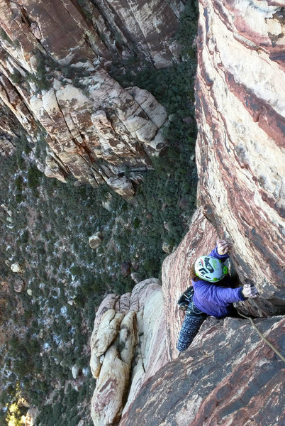 Looking down from the belay of pitch 5