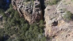 Rock Climbing Photo: Drone shot of Lori climbing Never Forget