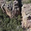 Drone shot of Lori climbing Never Forget