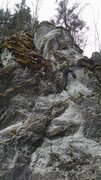 Rock Climbing Photo: Mark on the second ascent. Follow the arête to th...