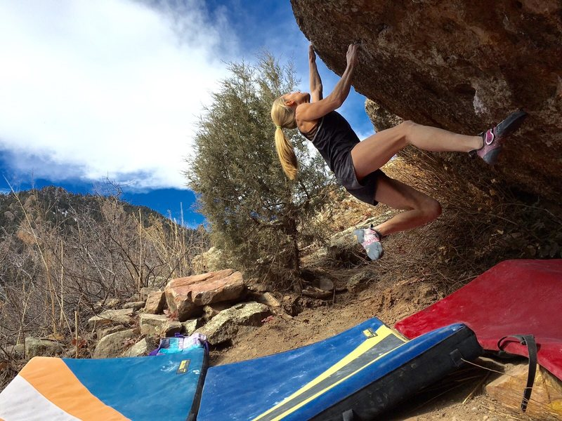 Rock Climbing Photo: Robyn Raboutou nabbing the 2nd ascent after her da...