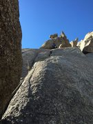 Rock Climbing Photo: Looking up the route.  The line follows a left tra...